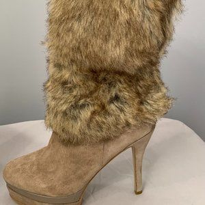 Fergie Shoes Fergie Suede and Fur Boots